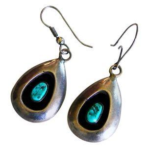 Silver & Turquoise Shadowbox Earrings VTG 70s